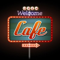 an electric cafe sign